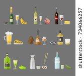 alcohol drinks beverages... | Shutterstock .eps vector #734066257