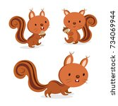set of squirrel in different... | Shutterstock .eps vector #734069944