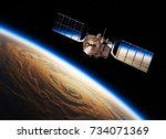 reflection of earth in solar... | Shutterstock . vector #734071369