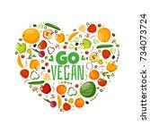 vegetables and fruits big set... | Shutterstock .eps vector #734073724