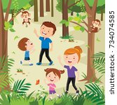 happy young family hiking in... | Shutterstock .eps vector #734074585