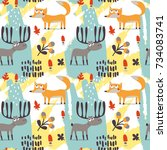 seamless cute autumn pattern... | Shutterstock .eps vector #734083741