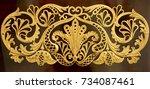 luxury gold relief. golden... | Shutterstock . vector #734087461