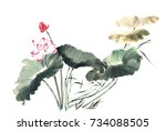 chinese style drawings ... | Shutterstock . vector #734088505