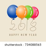 happy new year 2018 with ... | Shutterstock .eps vector #734088565