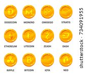 cryptocurrency coin set.... | Shutterstock .eps vector #734091955