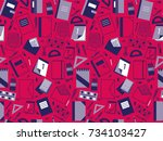 seamless pattern with school... | Shutterstock .eps vector #734103427