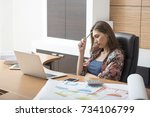 a lady boss concerned on... | Shutterstock . vector #734106799