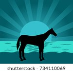 image of a horse at dawn | Shutterstock .eps vector #734110069