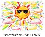 the sun shining in the sky ... | Shutterstock . vector #734112607