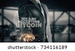 we are accepting bitcoin with... | Shutterstock . vector #734116189