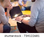 group of a young business... | Shutterstock . vector #734122681