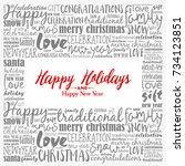 happy holidays and happy new... | Shutterstock .eps vector #734123851