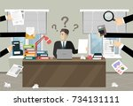 person at work multitasking ... | Shutterstock .eps vector #734131111