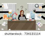 person at work multitasking ... | Shutterstock .eps vector #734131114