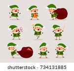 set of cute playful christmas... | Shutterstock .eps vector #734131885