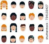 asian  african american... | Shutterstock .eps vector #734133427