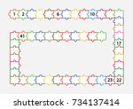 fill in the missing numbers to... | Shutterstock .eps vector #734137414