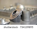 object printed on metal 3d... | Shutterstock . vector #734139895