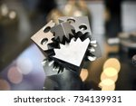 object printed on metal 3d... | Shutterstock . vector #734139931