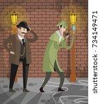 great detective sherlock holmes ... | Shutterstock .eps vector #734149471