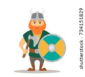 vector illustration viking with ... | Shutterstock .eps vector #734151829