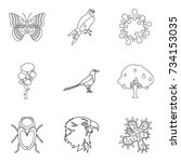 sick animal icons set. outline... | Shutterstock .eps vector #734153035
