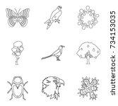 sick animal icons set. outline...   Shutterstock .eps vector #734153035