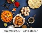 indian cuisine on diwali... | Shutterstock . vector #734158807