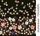 seamless folk border in little... | Shutterstock .eps vector #734163091