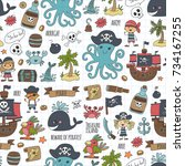 seamless pattern pirate party... | Shutterstock . vector #734167255