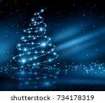christmas blue tree | Shutterstock . vector #734178319
