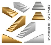 gold and white stairs set | Shutterstock .eps vector #734179369