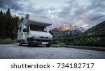 RV camper in a scenic parking spot - stock photo