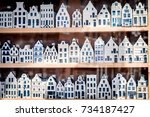 shop window with 3 rows of... | Shutterstock . vector #734187427