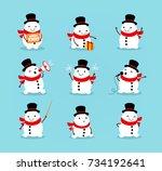 set of cute playful snowmen....   Shutterstock .eps vector #734192641