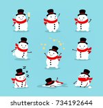 set of cute playful snowmen.... | Shutterstock .eps vector #734192644