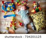 cute newborn baby sleeping...   Shutterstock . vector #734201125