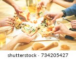 close up of people hands taking ...   Shutterstock . vector #734205427