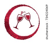vector red wine glass splash... | Shutterstock .eps vector #734224069