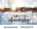 merry christmas lettering ...   Shutterstock .eps vector #734233279