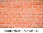 brick wall background. brick... | Shutterstock . vector #734235247