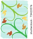 birds on stalks angled text... | Shutterstock .eps vector #73423576
