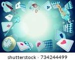 alice in wonderland. playing...   Shutterstock .eps vector #734244499