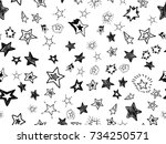 doodle star confetti seamless... | Shutterstock .eps vector #734250571