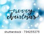 merry christmas lettering ...   Shutterstock .eps vector #734255275