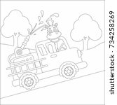 coloring page on white... | Shutterstock .eps vector #734258269
