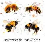 Watercolor  Bumblebees Hand...