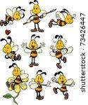 Nine Cute Cartoon Honeybees....