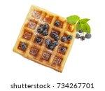 handmade belgian waffle with... | Shutterstock . vector #734267701